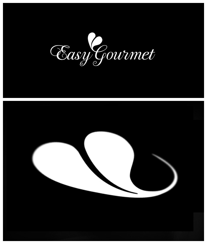 Easy Gourmet Catering logo, a cream heart etched in a black sauce