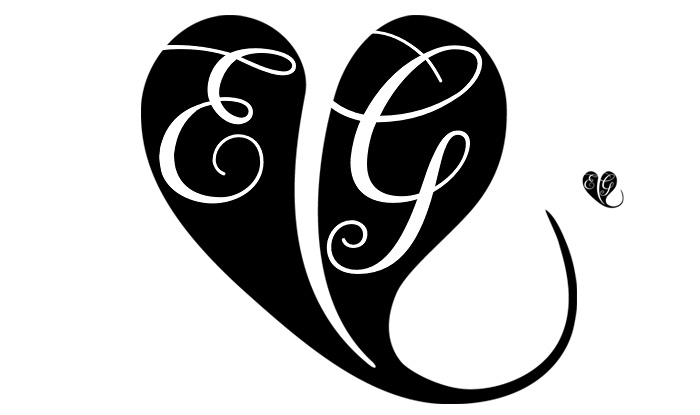 Monogram of E and G and a heart shape