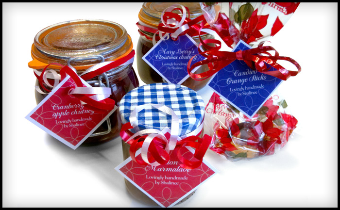 Shalinee's Christmas preserves labels