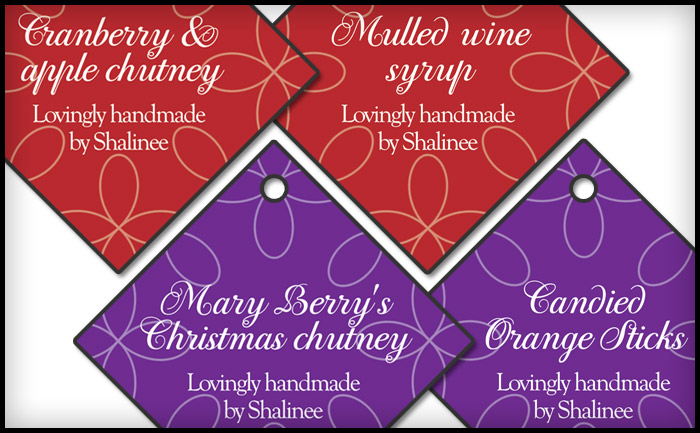 Christmas labels for home-cooked chutney and mulled wine
