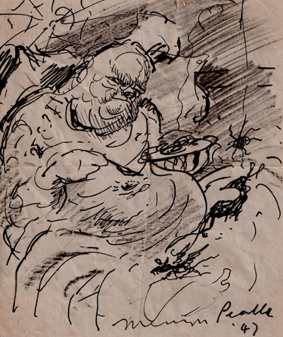 "Abiatha Swelter, Chief Chef of Gormenghast"" pen and ink sketch, signed ""Mervyn Peake '47"""