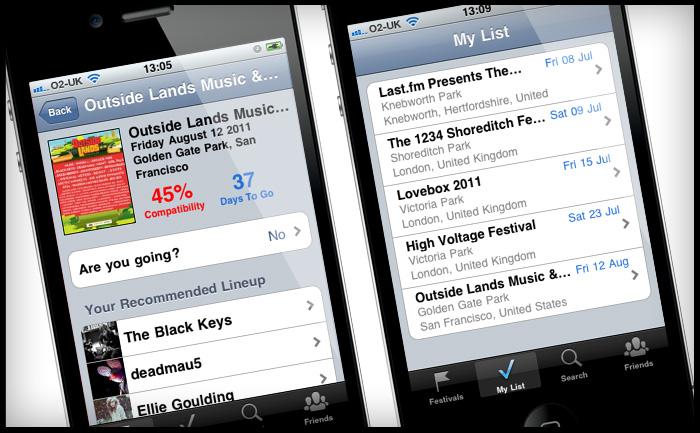 Last.fm Festivals iPhone app