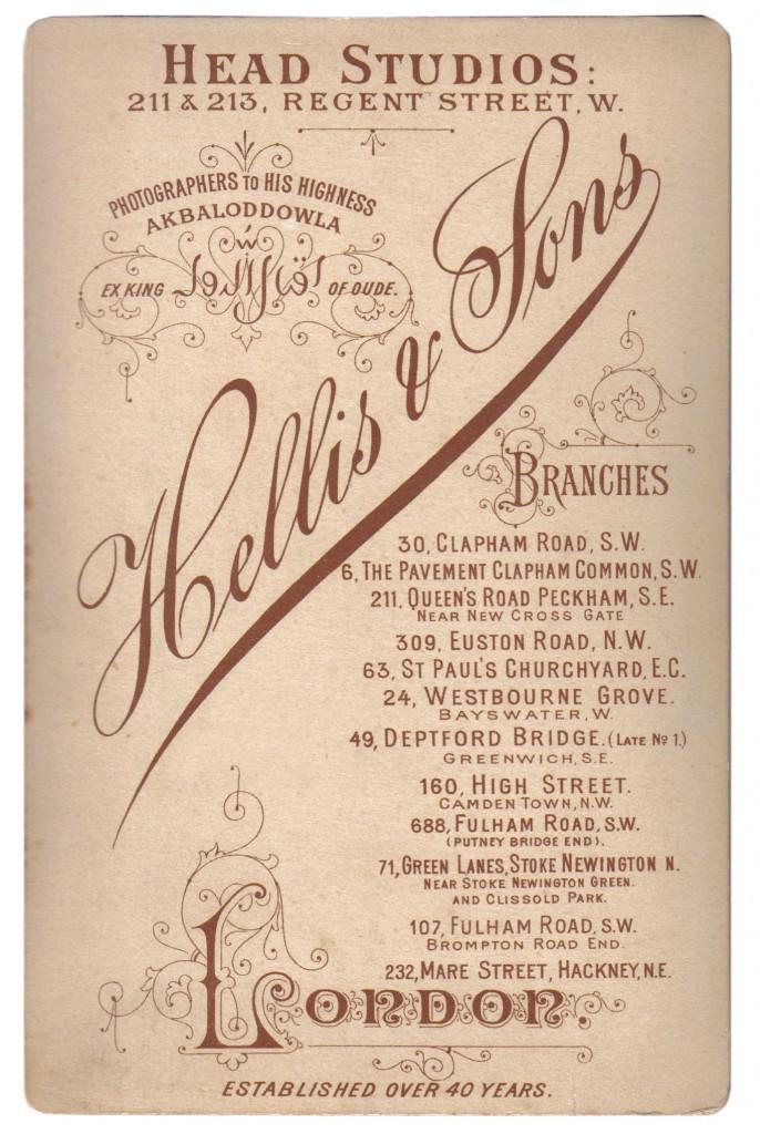 1880-90s Hellis & Sons Head Studios 211 & 213 Regent Street London - Photographers to his Highness Akbaloddowla Ex King of Oude