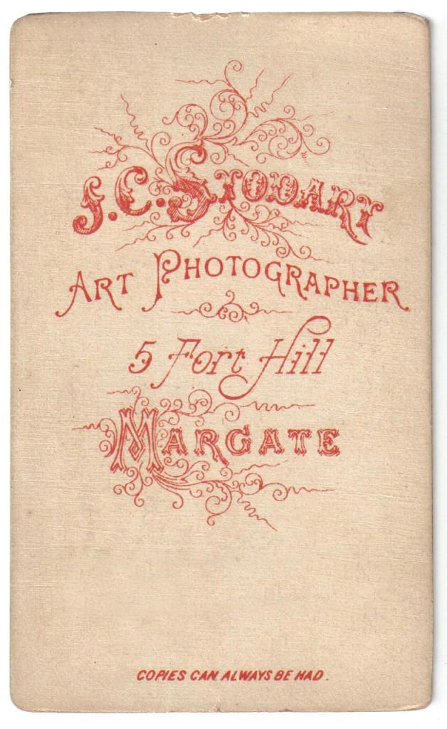 1880 J.C. Stodart Art Photographer 55 Fort Road Margate.