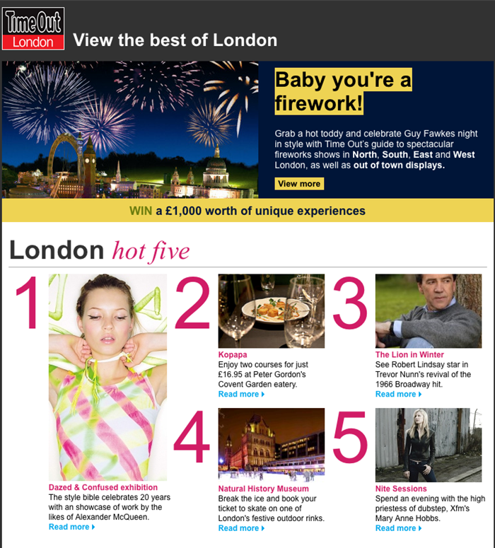 Time Out London newsletter design, e-marketing