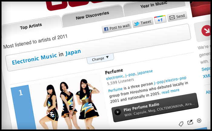Last.fm artist charts UX and visual design
