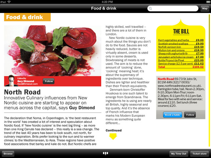 Time Out London iPad app concepts
