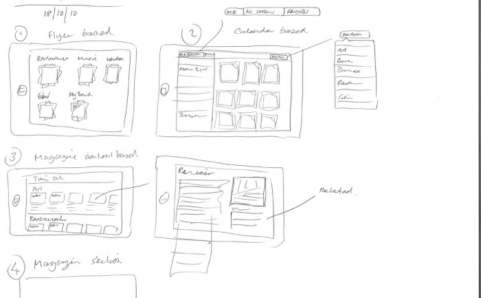 Time Out London iPad app concept sketches