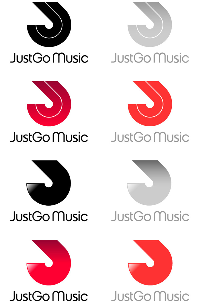 JustGo Music logo colour samples