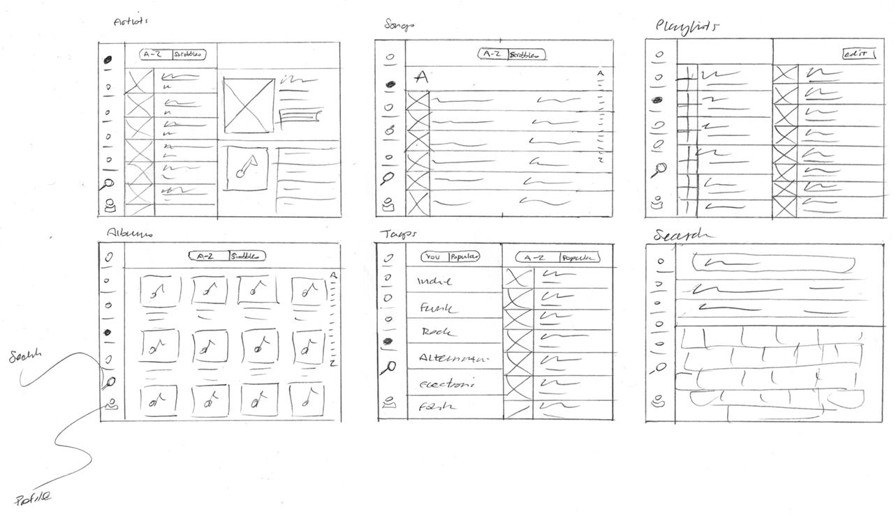 Scrobbler tablet mobile music app design sketches for Blueprint sketch app