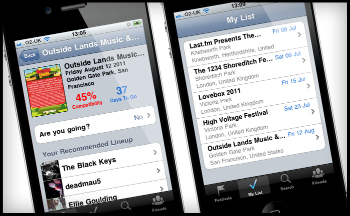 Last.fm Festivals iOS iPhone app