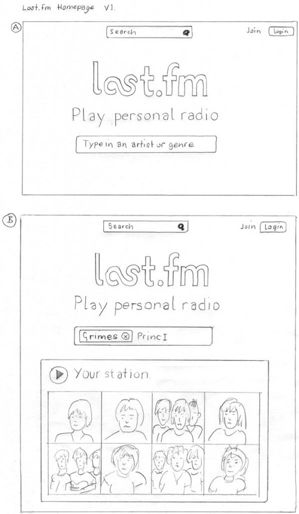 Last.fm homepage concept sketch