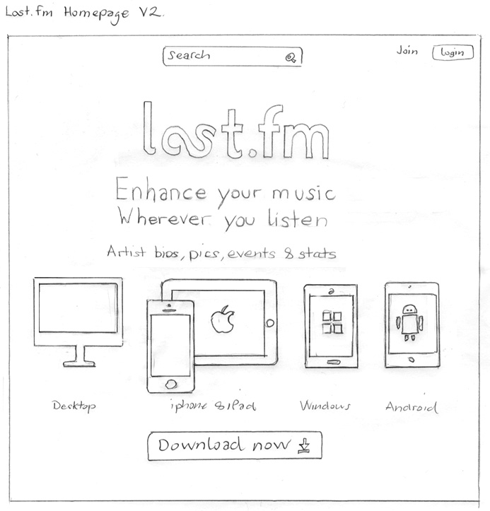 Last.fm homepage concept sketches
