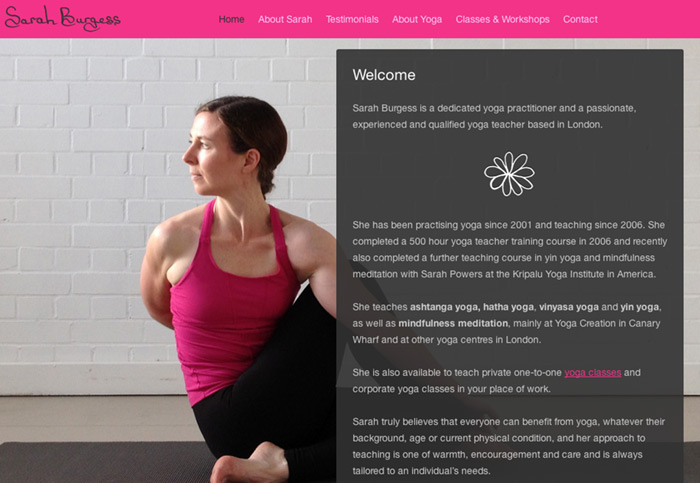 Sarah Burgess Yoga website design