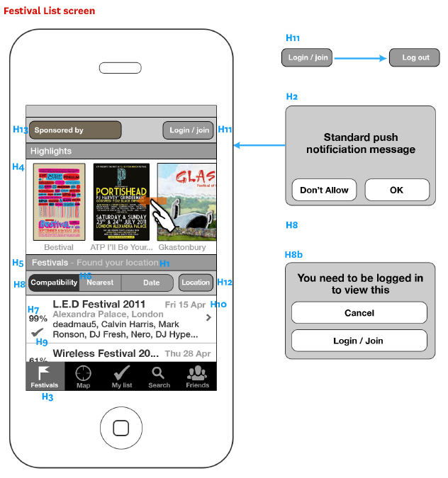 Last.fm festival finder iPhone app wireframes