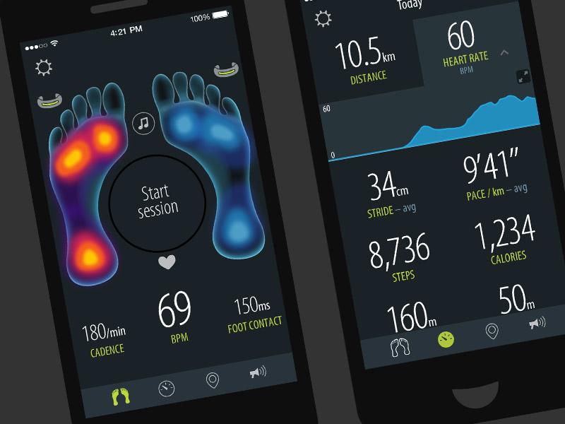 Sensoria Fitness iPhone & Android app design