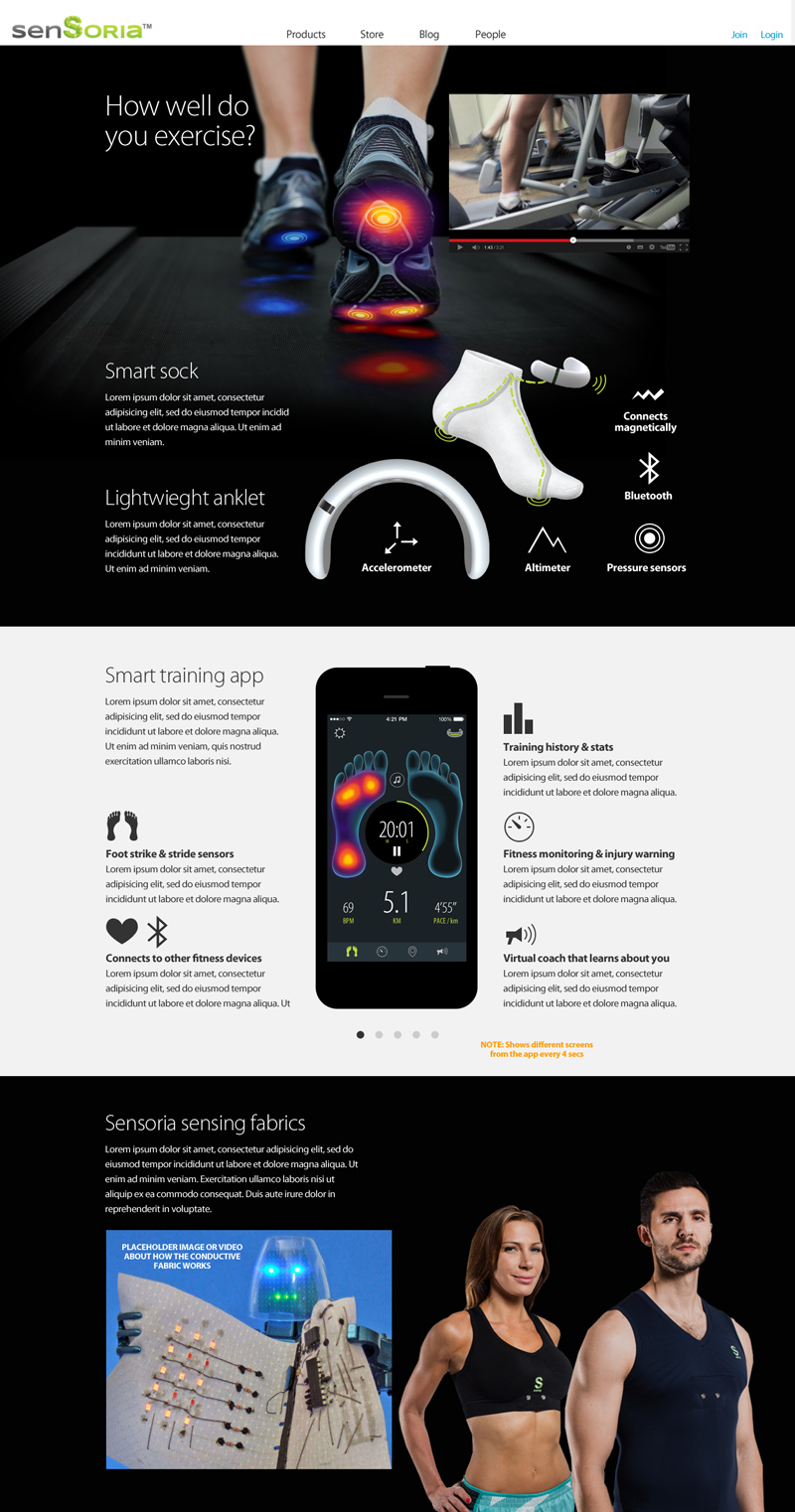 Sensoria Fitness web UX and UI