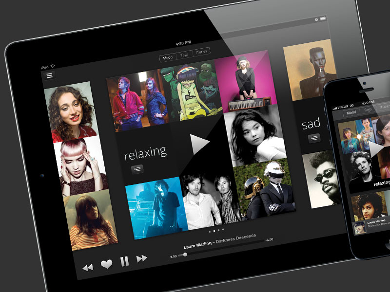 Artificial playlisting music iPhone and Android app